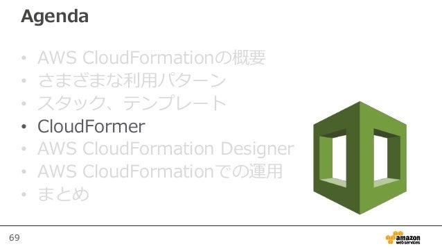 69 Agenda • AWS CloudFormationの概要 • さまざまな利用パターン • スタック、テンプレート • CloudFormer • AWS CloudFormation Designer • AWS CloudForma...