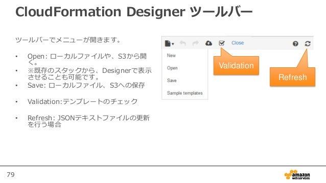 79 CloudFormation Designer ツールバー ツールバーでメニューが開きます。 • Open: ローカルファイルや、S3から開 く。 • ※既存のスタックから、Designerで表示 させることも可能です。 • Save: ...
