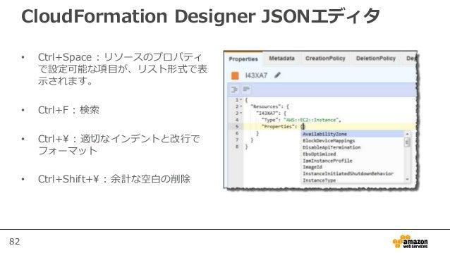 82 CloudFormation Designer JSONエディタ • Ctrl+Space : リソースのプロパティ で設定可能な項目が、リスト形式で表 示されます。 • Ctrl+F : 検索 • Ctrl+ : 適切なインデントと改行...