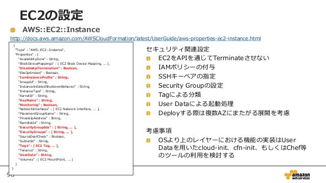 "98 EC2の設定 { ""Type"" : ""AWS::EC2::Instance"", ""Properties"" : { ""AvailabilityZone"" : String, ""BlockDeviceMappings"" : [ EC2 Blo..."