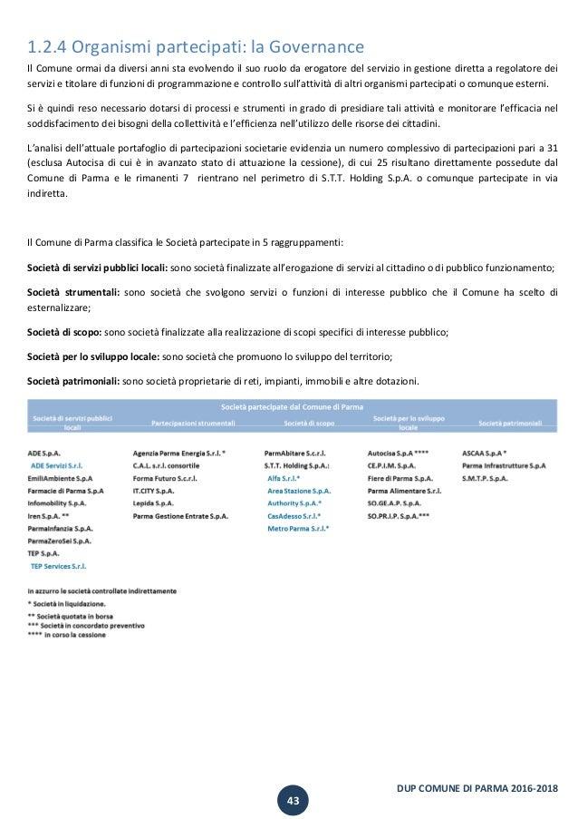 Documento unico di programmazione del comune di parma 2016 for Programmazione e gestione dei servizi educativi