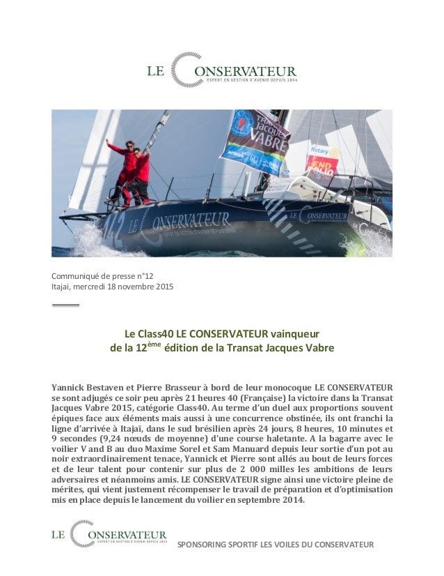 SPONSORING  SPORTIF  LES  VOILES  DU  CONSERVATEUR                  Communiqué  d...