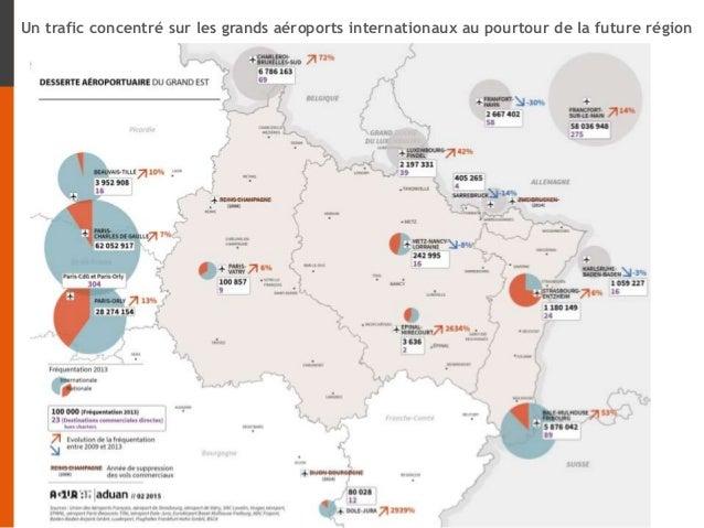 Un trafic concentré sur les grands aéroports internationaux au pourtour de la future région