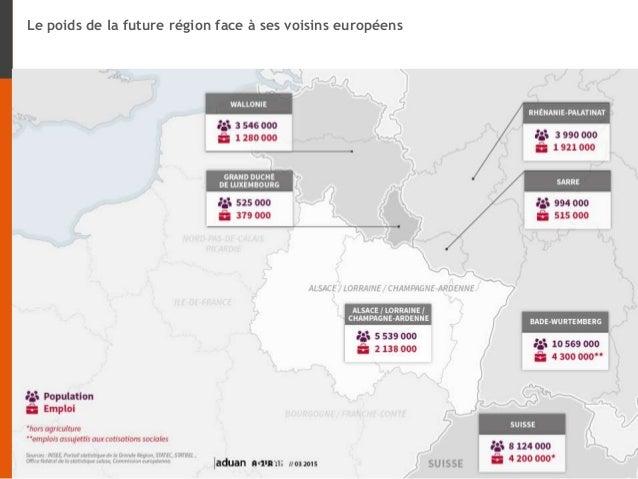 Le poids de la future région face à ses voisins européens