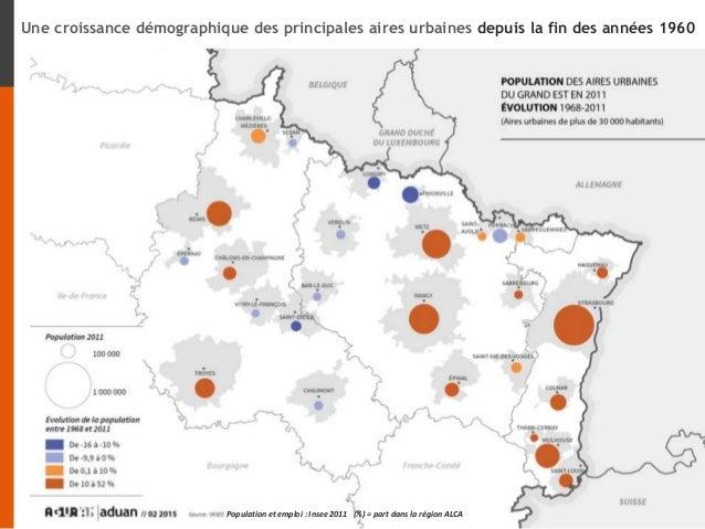 Population et emploi : Insee 2011 (%) = part dans la région ALCA Une croissance démographique des principales aires urbain...