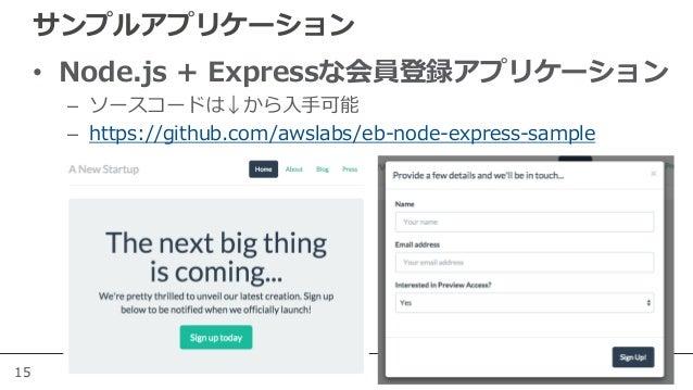 15 サンプルアプリケーション • Node.js + Expressな会員登録アプリケーション – ソースコードは↓から入手可能 – https://github.com/awslabs/eb-node-express-sample
