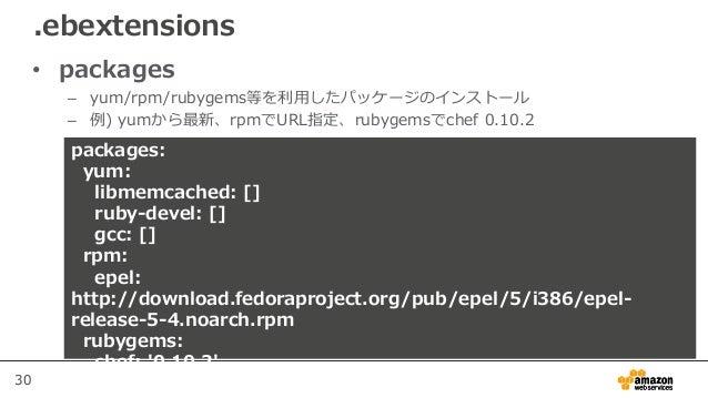 30 • packages – yum/rpm/rubygems等を利用したパッケージのインストール – 例) yumから最新、rpmでURL指定、rubygemsでchef 0.10.2 .ebextensions packages: yum...