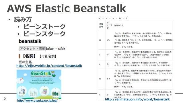 5 AWS Elastic Beanstalk http://en.hatsuon.info/word/beanstalk http://ejje.weblio.jp/content/beanstalk • 読み方 • ビーンストーク • ビー...