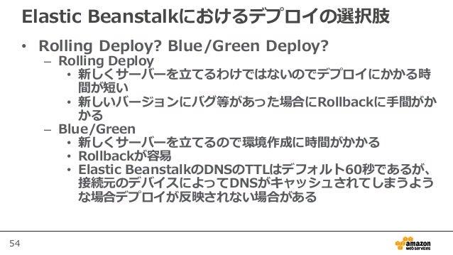 54 Elastic Beanstalkにおけるデプロイの選択肢 • Rolling Deploy? Blue/Green Deploy? – Rolling Deploy • 新しくサーバーを立てるわけではないのでデプロイにかかる時 間が短い...