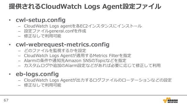 67 提供されるCloudWatch Logs Agent設定ファイル • cwl-setup.config – CloudWatch Logs agentを各EC2インスタンスにインストール – 設定ファイルgeneral.confを作成 –...