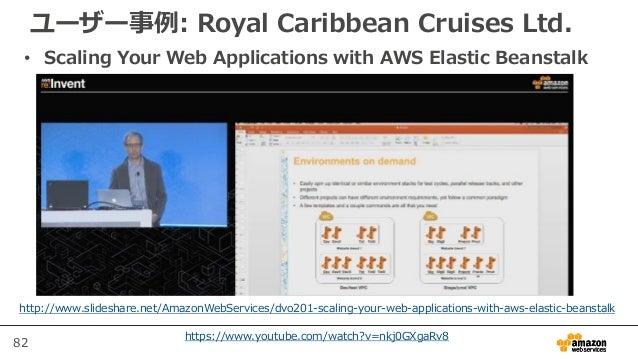 82 ユーザー事例: Royal Caribbean Cruises Ltd. • Scaling Your Web Applications with AWS Elastic Beanstalk http://www.slideshare.n...