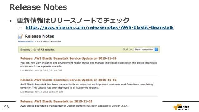 96 Release Notes • 更新情報はリリースノートでチェック – https://aws.amazon.com/releasenotes/AWS-Elastic-Beanstalk