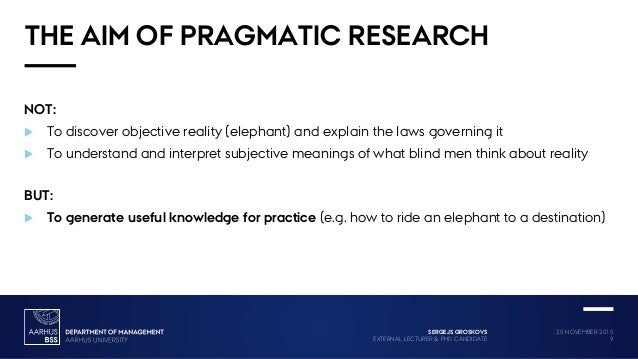 what is pragmatism in research