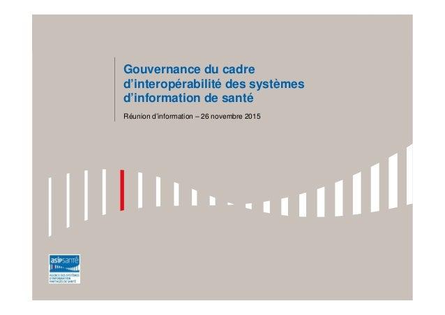 Gouvernance du cadre d'interopérabilité des systèmes d'information de santé Réunion d'information – 26 novembre 2015
