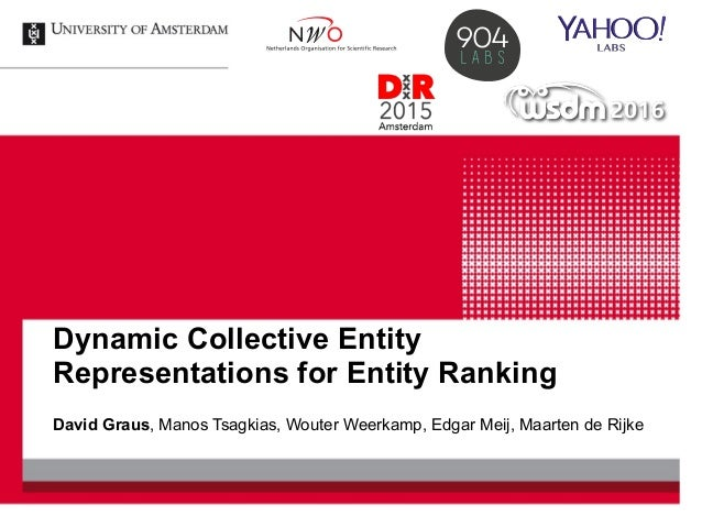 Dynamic Collective Entity Representations for Entity Ranking David Graus, Manos Tsagkias, Wouter Weerkamp, Edgar Meij, Maa...