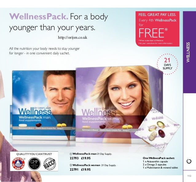 WELLNESS GMPGOOD MANUFACTURING PRACTICE 113 WellnessPack. For a body younger than your years. All the nutrition your body ...
