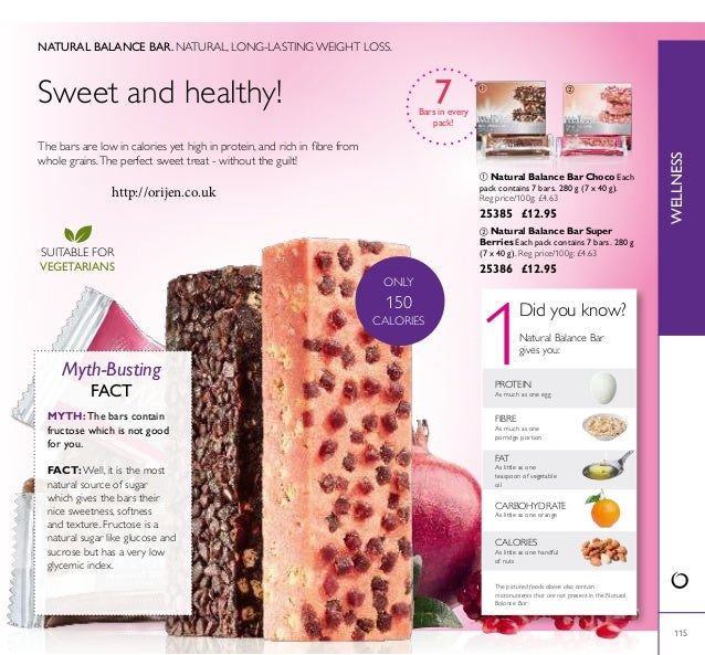 1 ONLY 150 CALORIES 115 The bars are low in calories yet high in protein, and rich in ibre from whole grains.The perfect s...