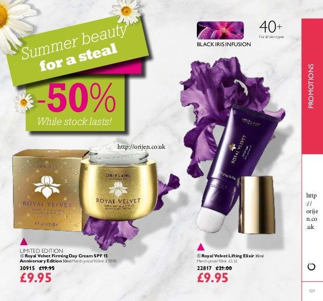 121  Royal Velvet Lifting Elixir 30ml Merch price/10ml: £3.32 22817 £21.00 £9.95  Royal Velvet Firming Day Cream SPF 15 ...