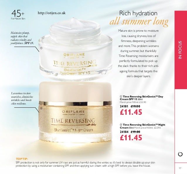 17 For Mature Skin 45+  Time Reversing SkinGenist™ Day Cream SPF 15 50ml Merch price/100ml: £22.90 24181 £19.00 £11.45  ...