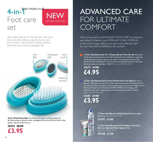 26 4-in-1 Foot Care Set Four foot-care tools in a three-piece set. Artiicial pumice, plastic brush, sandpaper ile and iron...