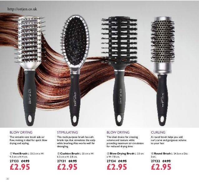 30 This multi-purpose brush has soft bristle tips that stimulates the scalp while brushing.Also works well for detangling....