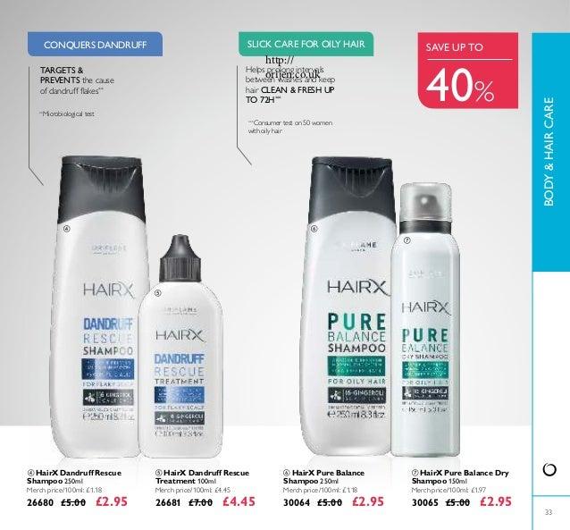 33  HairX Pure Balance Shampoo 250ml Merch price/100ml: £1.18 30064 £5.00 £2.95  HairX Pure Balance Dry Shampoo 150ml Me...
