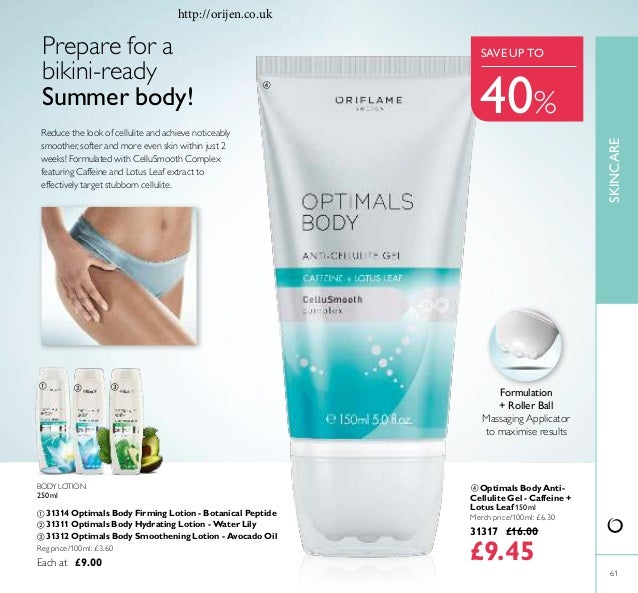 61 BODY LOTION 250ml ቢ 31314 Optimals Body Firming Lotion - Botanical Peptide ባ 31311 Optimals Body Hydrating Lotion - Wat...