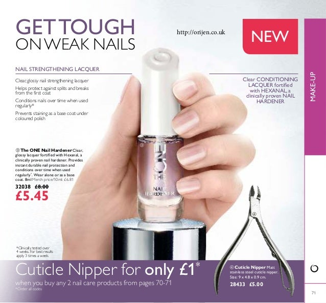  71  The ONE Nail Hardener Clear, glossy lacquer fortiied with Hexanal, a clinically proven nail hardener. Provides inst...
