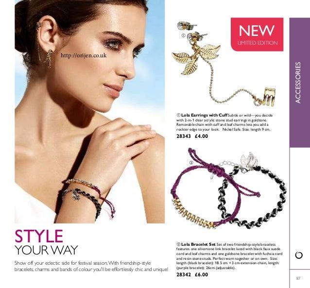   87  Lola Bracelet Set Set of two friendship-style bracelets features one silvertone link bracelet laced with black fa...