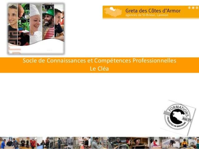 Socle de Connaissances et Compétences Professionnelles Le Cléa 1