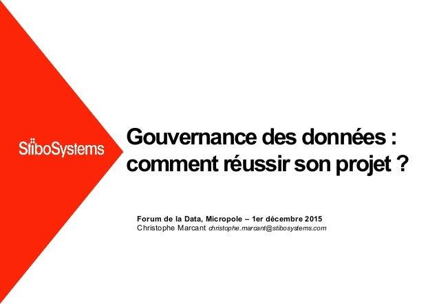 Forum de la Data, Micropole – 1er décembre 2015 Christophe Marcant christophe.marcant@stibosystems.com Gouvernance des don...