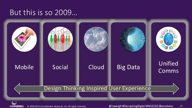 © 2010-2015 Constellation Research, Inc. All rights reserved. 12@rwang0 #DisruptingDigital #WLE2015Barcelona But this is s...
