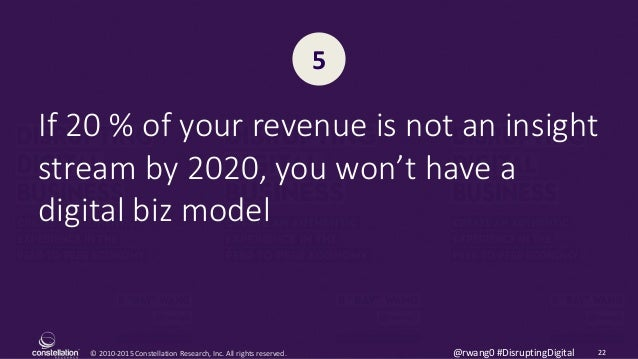 © 2010-2015 Constellation Research, Inc. All rights reserved. 22@rwang0 #DisruptingDigital If 20 % of your revenue is not ...