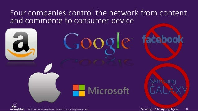 © 2010-2015 Constellation Research, Inc. All rights reserved. 25@rwang0 #DisruptingDigital Four companies control the netw...