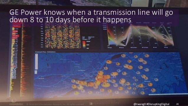 © 2010-2015 Constellation Research, Inc. All rights reserved. 28@rwang0 #DisruptingDigital GE Power knows when a transmiss...