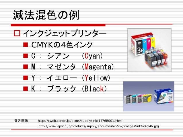 減法混色の例  インクジェットプリンター  CMYKの4色インク  C : シアン (Cyan)  M : マゼンタ(Magenta)  Y : イエロー(Yellow)  K : ブラック(Black) 参考画像 http://c...