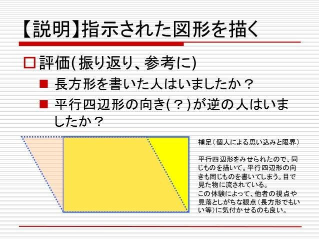 【説明】指示された図形を描く 評価(振り返り、参考に)  長方形を書いた人はいましたか?  平行四辺形の向き(?)が逆の人はいま したか? 補足(個人による思い込みと限界) 平行四辺形をみせられたので、同 じものを描いて。平行四辺形の向 ...