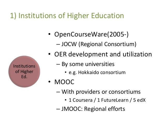 japan opencourseware consortium At that time, japan ocw consortium had over 600 courses currently they have 18 university members, including the united nations university (jocw, nd) on japanese university campuses there are few experts in content production, which makes it difficult to get support locally, and many of the.