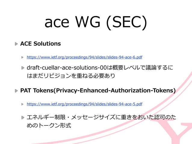 ace WG (SEC) ACE Solutions  https://www.ietf.org/proceedings/94/slides/slides-‐‑‒94-‐‑‒ace-‐‑‒6.pdf  draft-‐‑‒cuellar...
