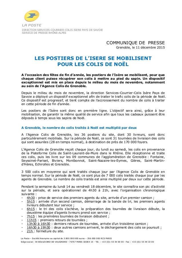 DIRECTION SERVICES-COURRIER-COLIS ISERE PAYS DE SAVOIE SERVICE DE PRESSE RHÔNE-ALPES La Poste – Société Anonyme au capital...