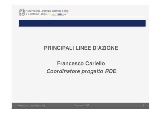 Milano, 14 Dicembre 2015 Seminario RDE 1 PRINCIPALI LINEE D'AZIONE Francesco Cariello Coordinatore progetto RDE