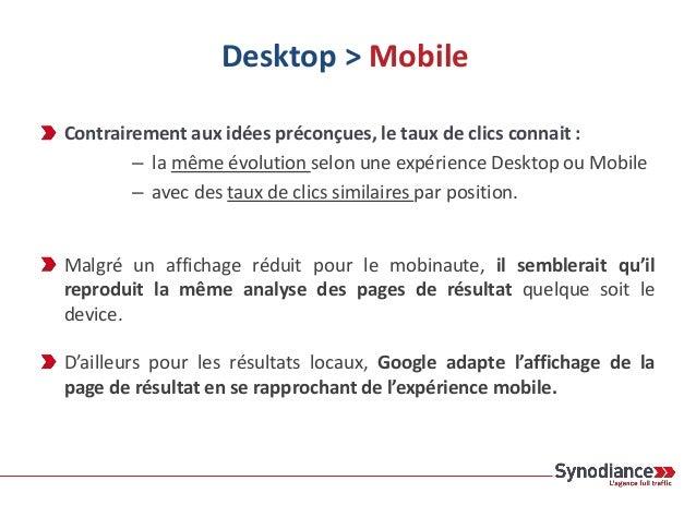 Contrairement aux idées préconçues, le taux de clics connait : – la même évolution selon une expérience Desktop ou Mobile ...
