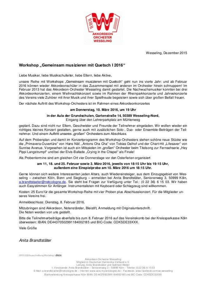 20151228 Ausschreibung Workshop I.docx Akkordeon-Orchester Wesseling Mitglied im Deutschen Harmonika-Verband e.V. Leitung:...