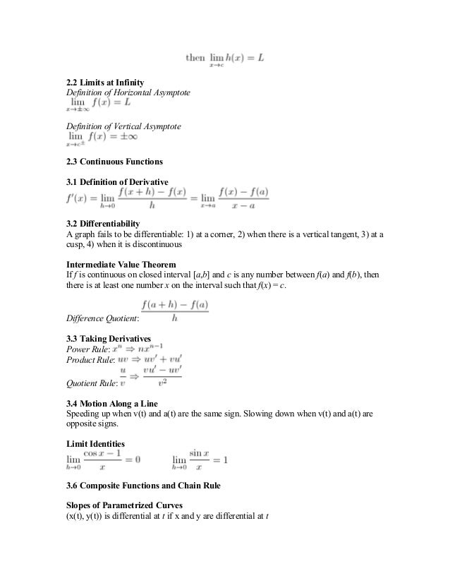 201522099 ap calc bc study guide formula sheet rh slideshare net On AP Calculus Movie ap calculus ab first semester exam study guide