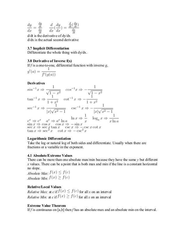 201522099 ap calc bc study guide formula sheet rh slideshare net AP Statistics ap calculus bc review guide