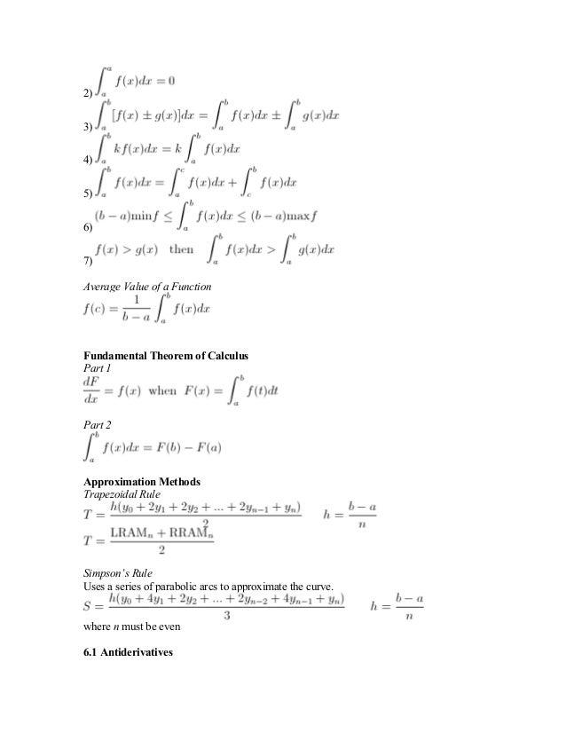 AP Calculus – Final Review Sheet
