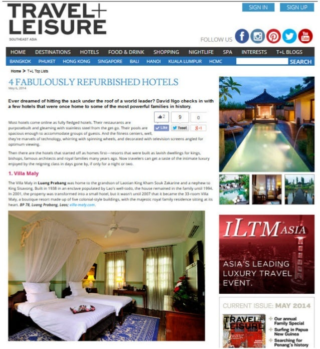 Travel + Leisure Southeast Asia names Villa Maly among the 4 Fabulously Refurbished Hotels around the world