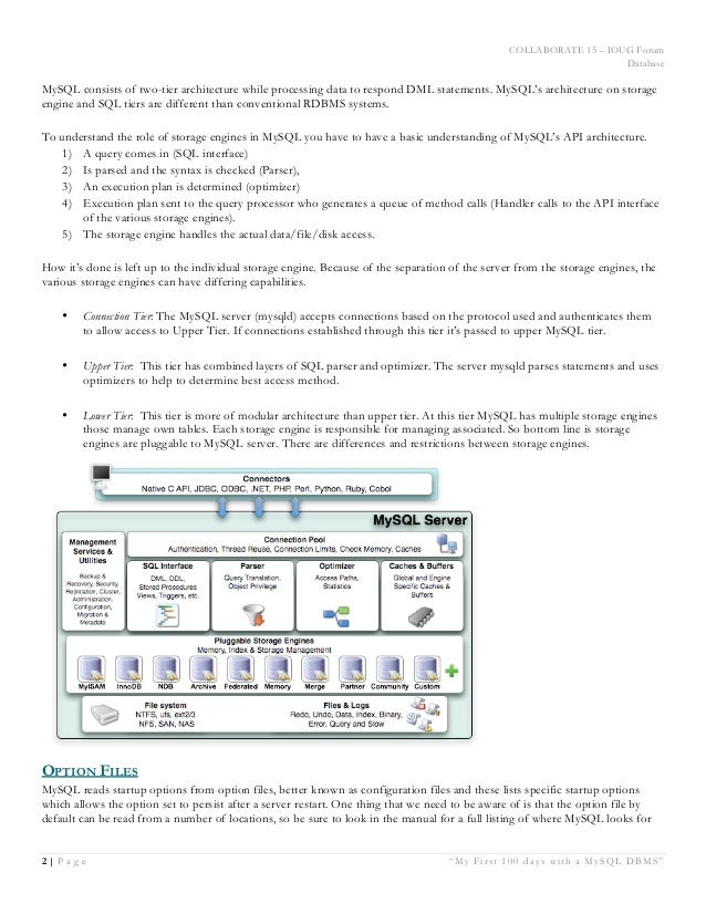 """COLLABORATE 15 – IOUG Forum Database 2   P a g e """"My First 100 days with a MySQL DBMS"""" White Paper MySQL consists of two-t..."""