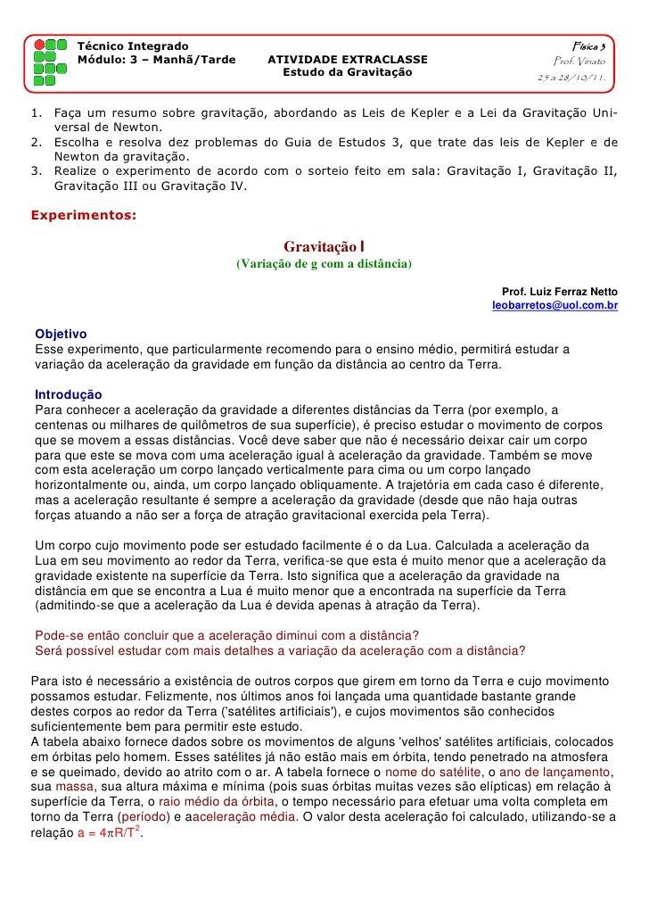 Técnico Integrado                                                                      Física 3        Módulo: 3 – Manhã/T...
