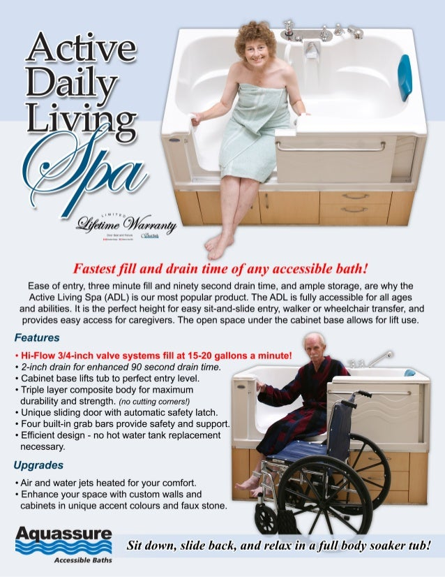 2015 ADL Spa Slide-in Bathtub - Elevated for Wheelchair & Lift Access…